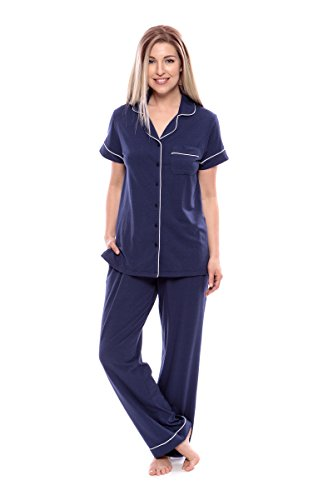 Texere Women's Bamboo Short Sleeve PJs (Gulf Blue, 2X) Easy Care Business Trip Sleepwear for Professional Woman TX-WB000-012-GFBU-X-2X by TexereSilk