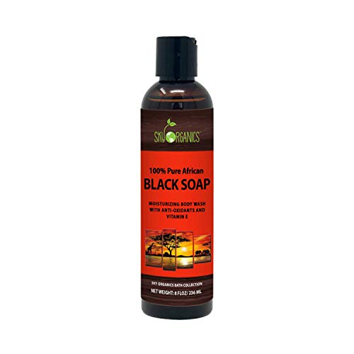African Black Soap - Raw Natural Soap Ideal for Acne, Eczema, Dry Skin, Psoriasis, Scar Removal, Face & Body Wash, Authentic Liquid Black Soap From Ghana (8oz) with Cocoa, Shea Butter & Aloe