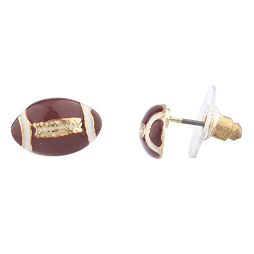 Lux Accessories Goldtone Brown White Enamel Football Sports Post Earrings ()