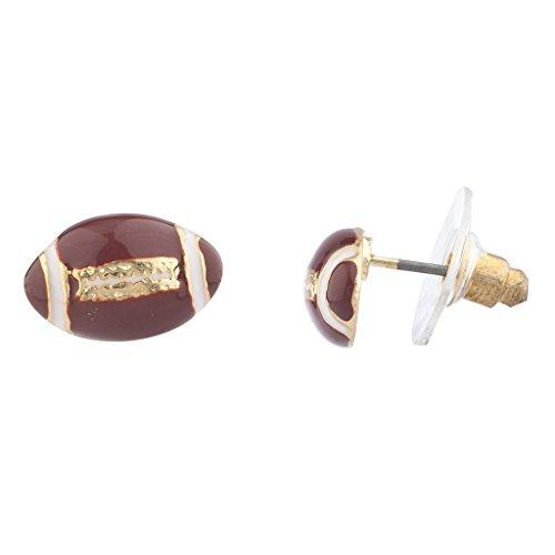 Lux Accessories Goldtone Brown White Enamel Football Sports Post Earrings - Gold Tone Sport Earrings
