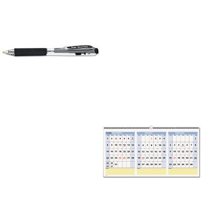 KITAAGPM1528PENK437A - Value Kit - At-a-Glance QuickNotes Three-Month Horizontal Wall Calendar (AAGPM1528) and Pentel WOW Retractable Gel Pen (PENK437A)