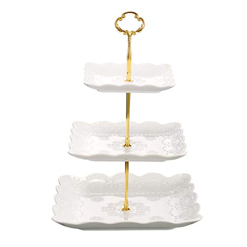 - 3-Tier Square Ceramic Cupcake Stand - Pure White Elegant Embossed Porcelain Dessert Display Cake Stand - For Birthday Weddings Tea Party White