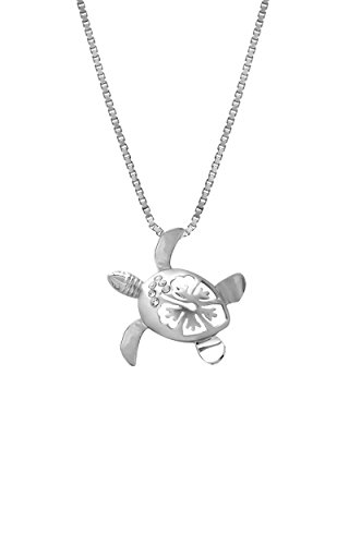 Sterling Silver Hibiscus Necklace Pendant