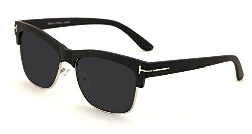 Translucent Soft Matte Classic Vintage Half Rim Retro Square Sunglasses - Dark Lens (Black, - Dark Rim