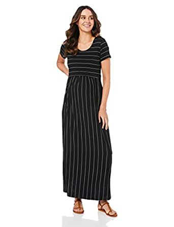 Ripe Maternity Women's Maxi Crop Top Nursing Dress, Black/Flint, S