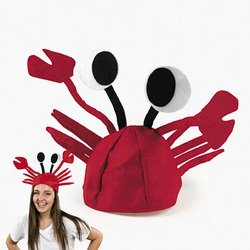 Red Felt Crab Hat Party Costume Adjustable Fits Child or Adu