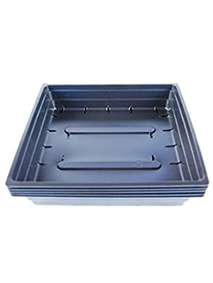 "Durable Black Plastic Germination Growing Trays (With Drain Holes) 10""x10""x2"" - Gardening: Grow Flowers, Microgreens, Wheatgrass, Seedlings, Plants"