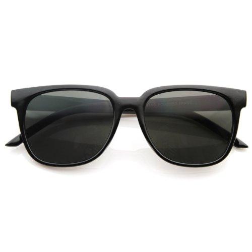 zeroUV - Retro Fashion Inspired Basic Horned Rim Horn Rimmed Style Sunglasses (Black)