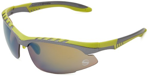 Sunbelt Adrenaline 337 Wrap Sunglasses,Matt Dark Grey & Green Rubber,78 mm (Sunbelt Sunglasses)
