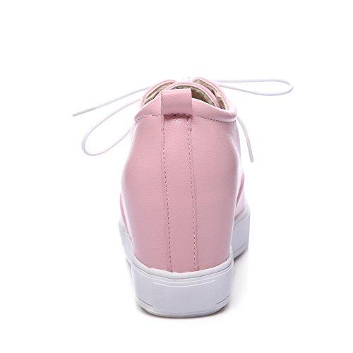 Allhqfashion Kvinners Kattunge Hæler Solide Blonder-up Pumper-sko Rosa