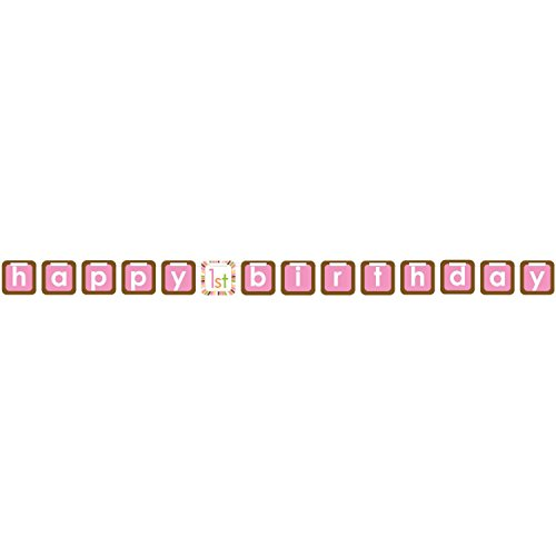 Pack of 12 Sweet At One Girl Happy Birthday Blue and Brown Ribbon Banners 8' by Party Central