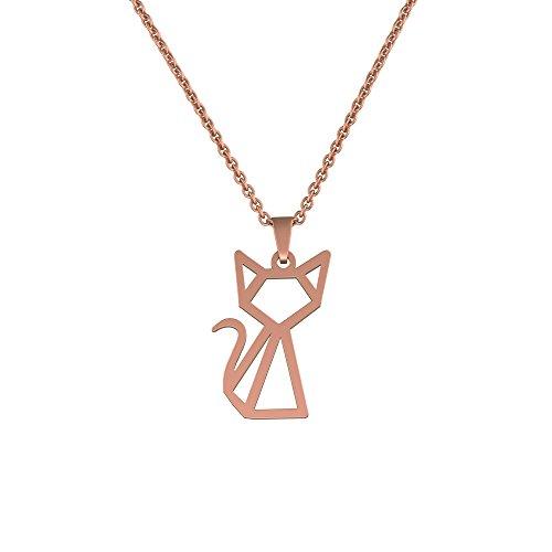 Or Is Cat Necklace - Ello Elli Geometric Cat Necklace 18