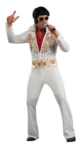 Rockstar Costume Ideas For Men (Aloha Elvis Adult Costume,White,Medium)