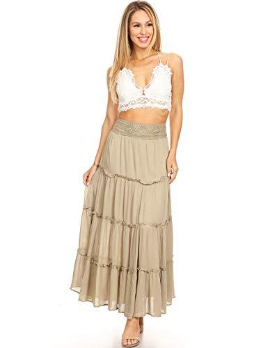 ANNA-KACI Womens Bohemian Gypsy Long Elastic Waist Maxi A-Line Tiered Skirt, Faded Sage