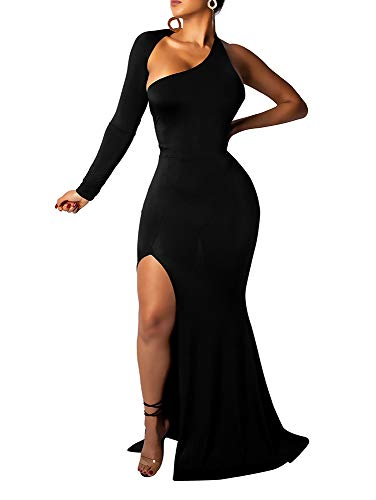 BEAGIMEG Women's Sexy Elegant One Shoulder Backless Evening Long Dress Black 2