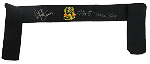 William Zabka & Martin Kove Dual Signed The Karate Kid Black Cobra Kai Headband w/Johnny, Sensei