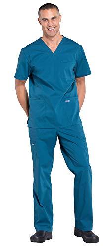 V-neck Pocket Scrub Cherokee 2 (Cherokee Workwear Professionals Men's 4 Pocket V-Neck Scrub Top WW695 & Men's Drawstring Cargo Scrub Pants WW190 Medical Uniforms Scrub Set (Caribbean Blue - Medium/Medium))