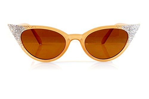 FBL Retro Vintage Glitter Fairy High Pointed Slim Cat-Eye Sunglasses A091 - Glasses Glitter Eye Cat