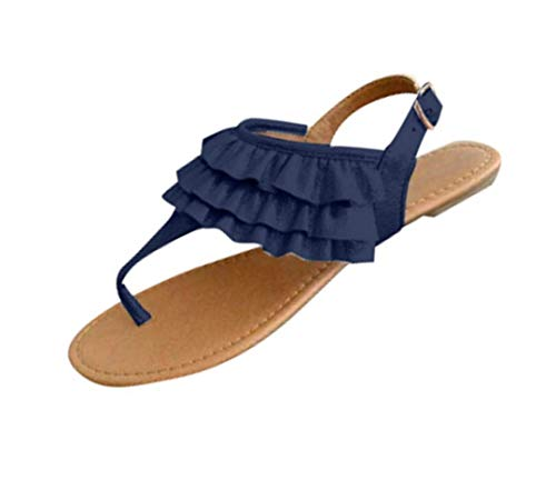Flat Sandals for Women Comfort Ruffle Thong Sandal Casual Ankle Strap Flip Flops Sandals Bohemian Beach Shoes Blue