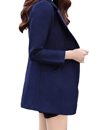 Outwear Giù Donne Pulsante Navy Trincea Blu Mogogo Sottile Volta Delle Un Collare Sua Il Cappotto xvqxgB7YwX