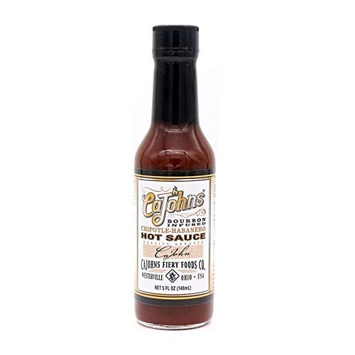 - CAJOHNS Hot Sauce Bourbon Infused Chipotle-Habanero, 5 ounces