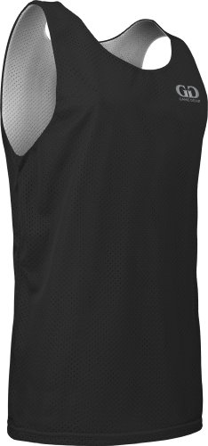 Men's Tank Top Jersey-Uniform is Reversible to White-Great for Basketball, Football, Soccer, Lacrosse, and Practices-Colors available in Black, Green, Royal, Red, Navy and More-Sizes SM-XXXL (Large, Black/White)