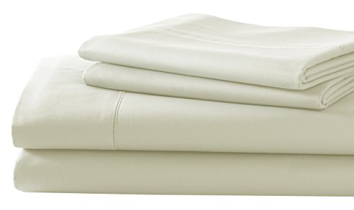 Amrapur 4 Piece T600 Cotton Rich Solid Sheet Set, Queen, Ivory