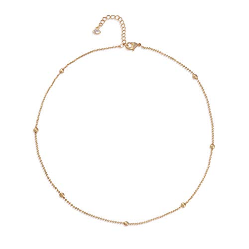 Mevecco Gold Dainty Simple Chain Choker Necklace for Women,14K Gold Plated Cute Bead Satellite Plain Chain Minimalist Fashion Choker Necklace for Teen Girls