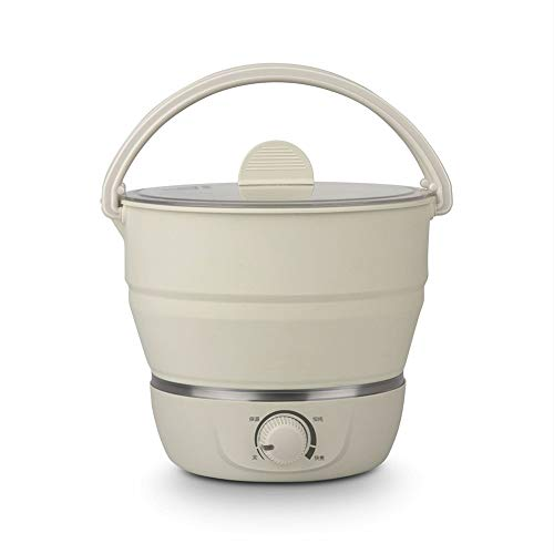 MAG.AL Foldable Electric Skillet Portable Travel Leisure Collapsible Electric Hot Pot Household Kettle with Auto Shut Off, Beige