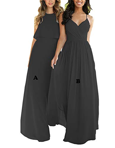 Nicefashion Women's Scoop Long Bridesmaid Dresses A-Line Sleeveless Chiffon Elegant Evening Party Gowns Size 16 Black