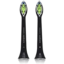 Philips Sonicare DiamondClean replacement toothbrush heads, HX6062/94, Black 2 count