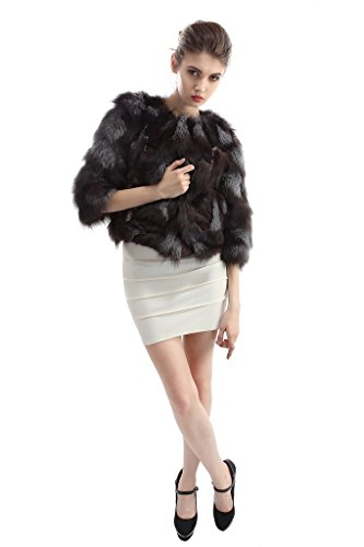OLLEBOBO Women's Coat For Winter Genuine Fox Fur Knitted Coat without Belt Size 2XL Black by OLLEBOBO (Image #3)