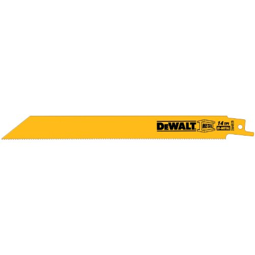 Straight Back Reciprocating Blade - DEWALT DW4809 8-Inch 14 TPI Straight Back Bi-Metal Reciprocating Saw Blade (5-Pack)