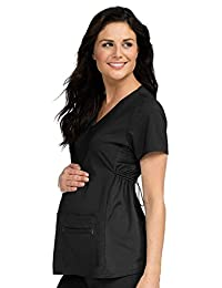 Med Couture Women's Maternity V-Neck Scrub Top, Black, X-Small