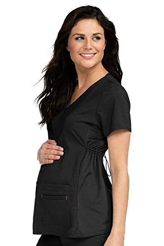 Med Couture Women's V-Neck Side Knit Maternity Scrub Top, Black, X-Small