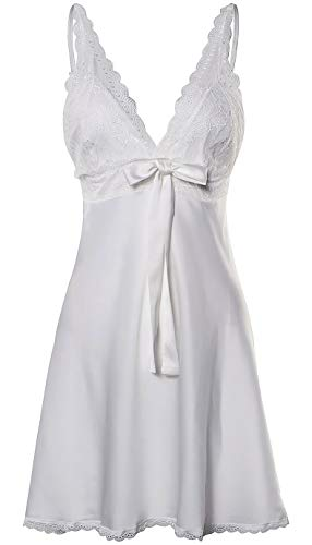 - BellisMira Women's Satin Lace Full Slip Chemise Silk Nightgown Sleepwear,White,Large