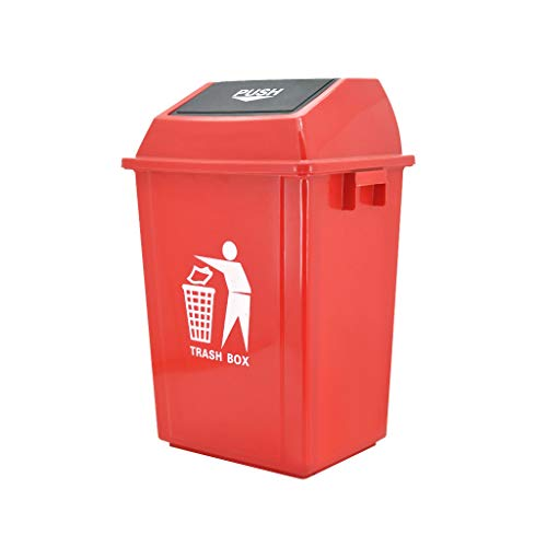 Environmentally Friendly Outdoor Large Capacity Rebound Cover Trash Can 40L (Color : Red, Size : L)