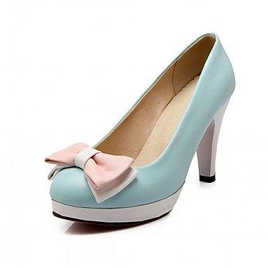 KYDJ @ Mujer-Tacón Stiletto-Confort Innovador-Tacones-Boda Oficina y Trabajo Vestido Informal Fiesta y Noche-Sintético PU-Azul Rosa Blanco Beige beige