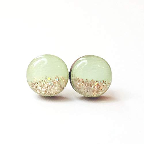 Hand painted light green with rose gold glitter wood stud earrings 10mm