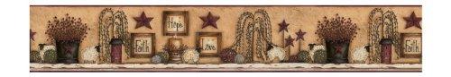 York Wallcoverings Best Of Country CN1136BD Faith Hope Love Shelf Border, Khaki Background by York Wallcoverings