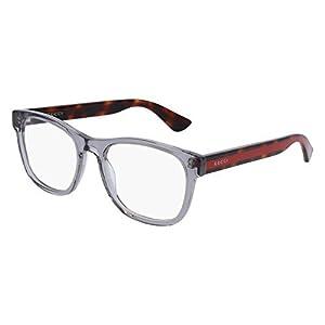 Gucci GG 0004O 004 Transparent Light Grey Plastic Square Eyeglasses 53mm