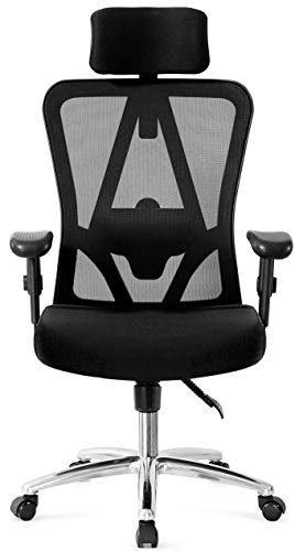 Ticova Ergonomic Office Chair with Adjustable Headrest, Armrest and Lumbar Support - High Back Mesh Chair with Thick Seat Cushion - Reclinable Computer Desk ()