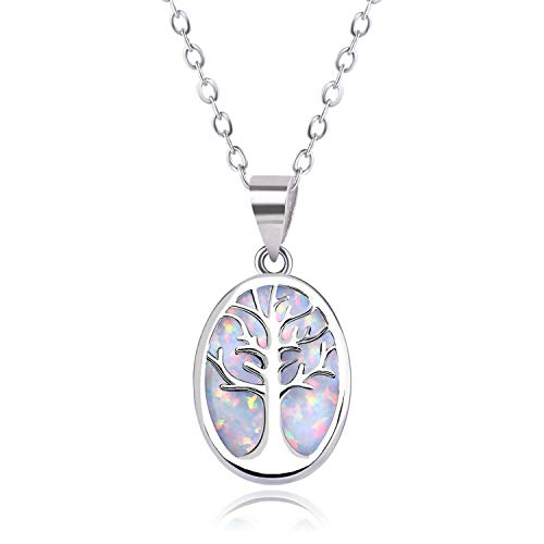 (KELITCH Tree of Life Necklace with Created Opal Pendant in Sterling-Silver for Women, White)