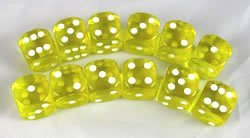 超話題新作 Yellow Transparent Dice Dice D6 Yellow 16mm 12 Dice D6 B0039L34RS, 億万両本舗和作:41303feb --- cliente.opweb0005.servidorwebfacil.com