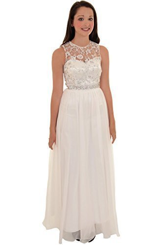 Ladies Sleeveless Jewel Floral Mesh Chiffon Lined Maxi Wedding Prom Gown Dress [Ivory, UK