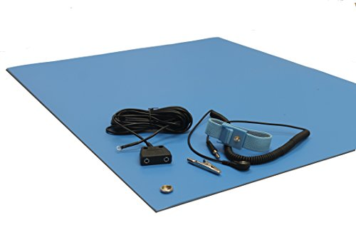 Strap 2.5' Vinyl (ESD Mat Kit with a Wrist Strap and Dual Point Grounding, Three Layer Vinyl, 30