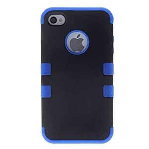 JJE Special 2-in-1 Design Very Protective Black Hard Case with Solid Color Silicone Soft Case for iPhone 4/4S (Assorted Colors) , Black