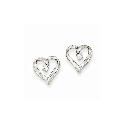 Earring Aa Diamond Heart (14k White Gold AA Diamond Heart Earrings)