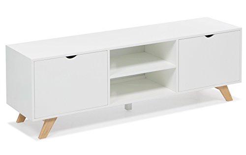 Sideboard / Lowboard / TV-Tisch weiß natur mit 2 Fächern & 2 Ablagen Wohnzimmertisch Beistelltisch Retro Stil Design chic Wohnzimmer Sofa Tisch