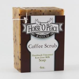 Handmade Herbal 100% Raw Goat Milk Coffee Scrub Soap (4oz./Bar)